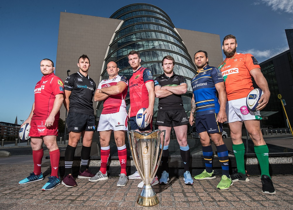REPRO FREE***PRESS RELEASE NO REPRODUCTION FEE***  2017/2018 EPCR European Rugby Champions Cup & European Rugby Challenge Cup Launch, Convention Centre, Dublin 2/10/2017  Scarlets' Ken Owens, Ospreys' Ashley Beck, Ulster's Rory Best, Munster's Peter O'Mahony, Glasgow Warriors' Stuart Hogg, Leinster's Isa Nacewa and Benetton Treviso's Dean Budd Mandatory Credit ©INPHO/Dan Sheridan