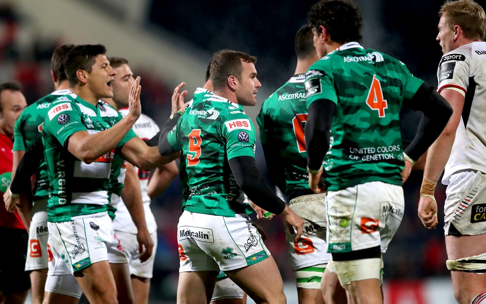 Guinness PRO14, Kingspan Stadium, Belfast 24/11/2017 Ulster vs Benetton Treviso Benetton Rugby's Tommaso Allan and Giorgio Bronzini celebrate after there side won a penalty Mandatory Credit ©INPHO/James Crombie
