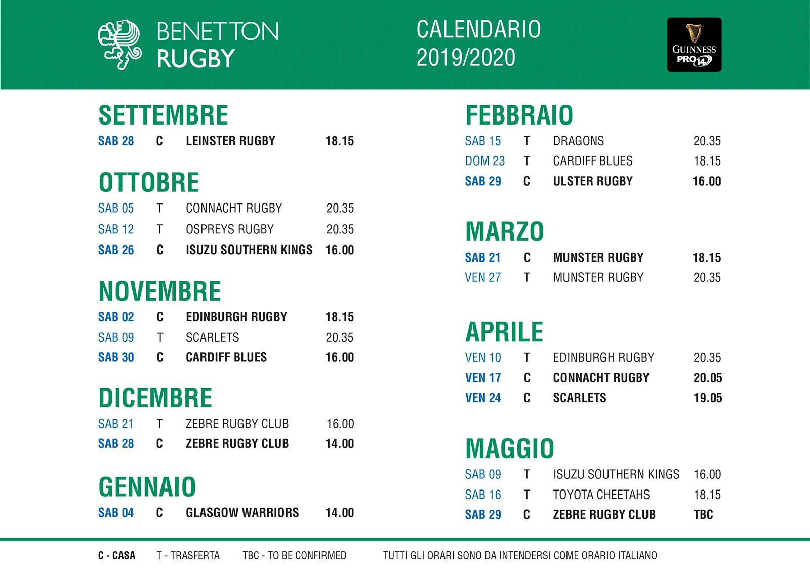 Zebre Rugby Calendario.Annunciato Il Calendario Del Guinness Pro14 2019 2020